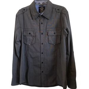No Retreat Chambray Button Up Long Sleeve Shirt